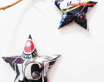 Vice IPA Beer Aluminum Can Stars, Ornaments, Black Silver Red, Miami Brewing Company, Gift for Cop. Gift for Dad, Gift Toppers