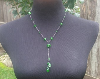 Darling For Cait -Green Crystal Y Necklace