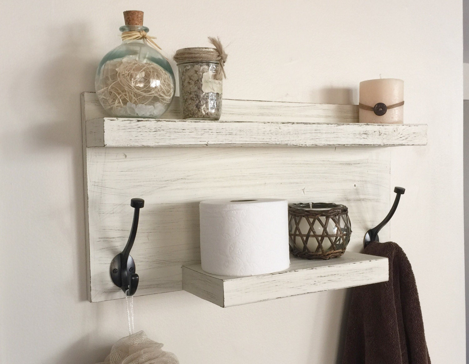 Bathroom Shelf With Towel Hooks - Distressed Ivory