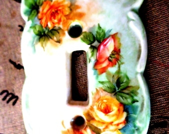 """Antique beautiful Switchplate1 Switch w pretty pink Roses 3 1/2"""" x 4"""""""