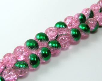 Set of 10 beads 6 mm glass Crackle half plate pink and green