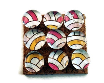Decorative Glass Push Pins  Thumb Tacks Cork Board Pins in Rainbow Sherbet   (P02a)