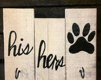 Hand Crafted Rustic Pallet Sign Key Holder His Hers And Paw Print Key