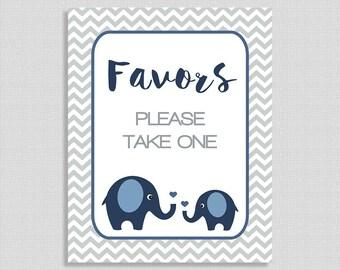 Favor Shower Sign, Navy Elephant Baby Shower Favor Sign, Grey Chevron, INSTANT PRINTABLE