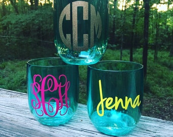 Monogrammed Acrylic Stemless, Colored Stemless Wine Glass, Stemless Wine Glass, Monogram Stemless Wine Glass