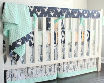 Boy crib bedding. Navy Mint Deer Buck Crib Rail bedding. Woodland tribal Aztec Buck bumperless nursery bedding.