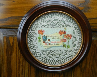 Antique Framed Postcard and Doily