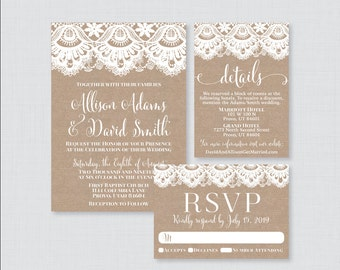 Printable OR Printed Wedding Invitation Suite - Burlap and Lace Wedding Invitation Package - Rustic Wedding Invites with Burlap Lace 0002