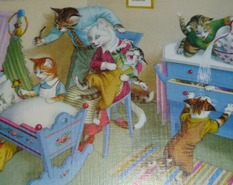 NEW Listing**Mainzer Anthropomorphic Cats in the Nursery Vintage Comic Postcard