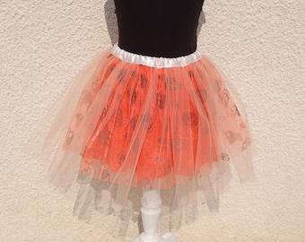 Skirt tutu to skulls Halloween orange 4-8 years