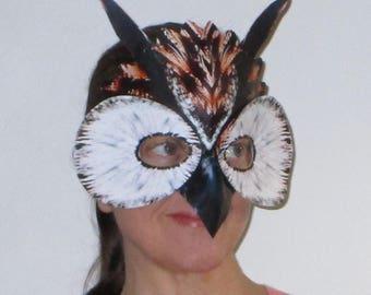 Owl mask, Halloween mask, animal mask, masquerade mask, costume mask, theatre performance mask, dance performance mask
