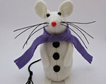 SnowMouse - Snowman - Felt Mouse - Felt Mice - Mouse Christmas Decoration