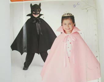 Halloween Children's Costume Cape Patterns Paper pattern Princess and Batman Capes Simplicity SO339 size S-L