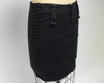 Denim front Houndstooth Pencil Skirt