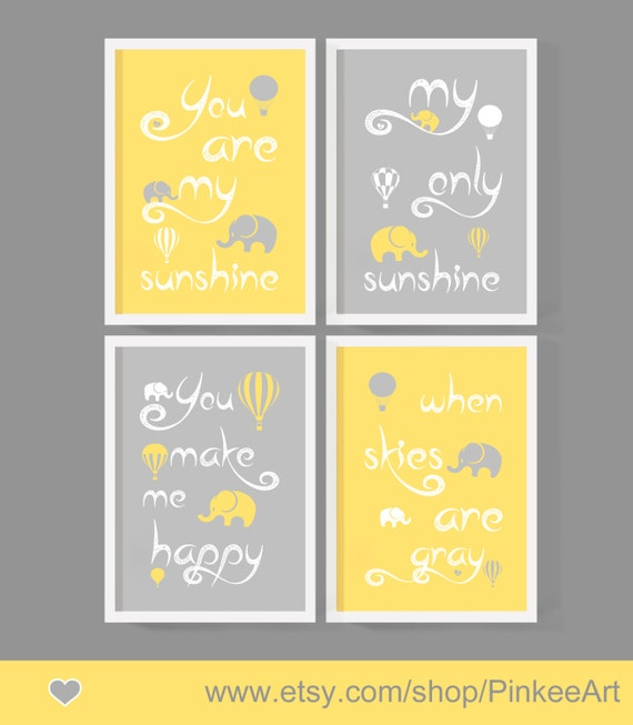 Items similar to you are my sunshine baby decor yellow gray hot air ...