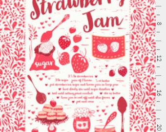 Tea towel Strawberry Jam Recipe, Recipe Tea Towel, Home Essentials, Gift under 15, House Warming, Mother's Day Gift, Food recipe