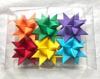 Moravian Paper Star Ornaments Rainbow (3 inch)