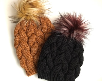 Hand Knit Braided Cable Beanie Black or Top Stitch w/a Faux Fur Pom Acrylic Bulky Yarn Handmade Skiing Snowboarding Sledding Winter Snow Hat