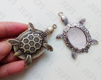Wholesale 20 Turtles Pendant trays- 18x25mm Oval Bezel Cabochon Setting Antique Bronzed/ Antique Silver, 174g - HA4081