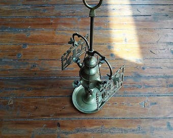 Antique Brass Whale Lamp