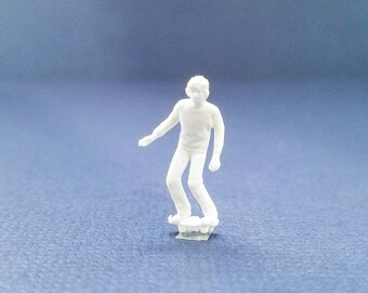 CUSTOMIZABLE Unpainted Kid on Skateboard Miniature Person Terrarium World People HO Scale Hand painted One of a Kind Railroad Figure