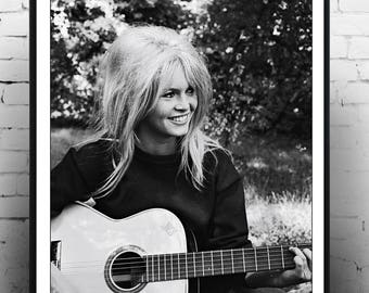 Brigitte Bardot Playing A Guitar,  Fashion photography , Vintage French Actress , Poster, Gift, home decor, model,