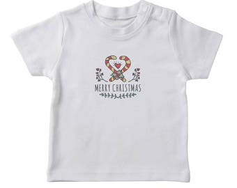 Crossed Candy Cane Heart Inside Merry Christmas Quote  Girl's White T-shirt