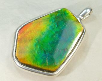 Fabulously beautiful! Ammolite silver pendant, ammolite necklace pendant, ammolite green red yellow purple blue dragonskin, ammonite pendant