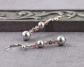 Gray Smoke Pearl Earrings Pink Rose Pastel Crystal Sterling Silver Bridal Jewelry Mauve Rose Mothers Day Jewelry