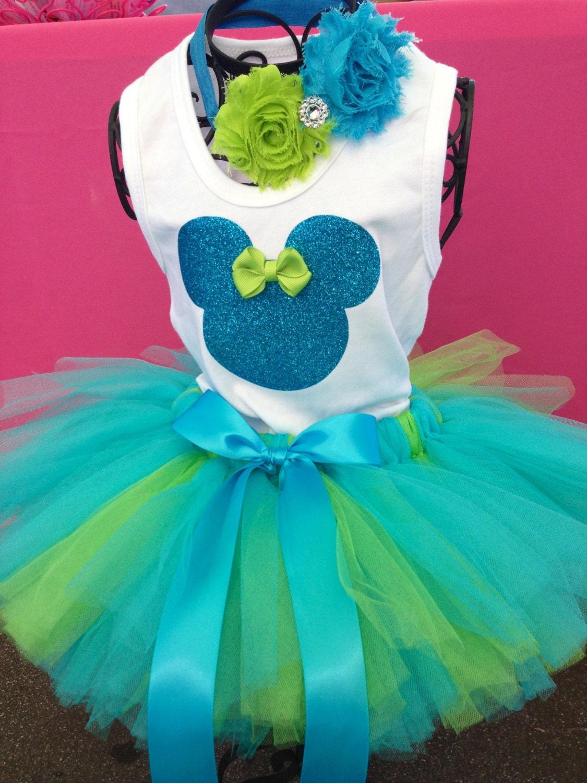 Girls Minnie Mouse Turquoise Aqua and Lime Green White Tutu