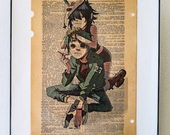 """Gorillaz Music Art Dictionary print on Real vintage Dictionary page on the word """" Monkey """" Frame Included Free Shipping"""
