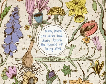 Thich Nhat Hanh quote art print - recycled paper