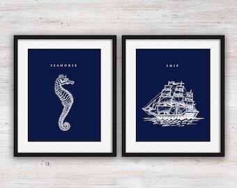 Two Blue Nautical Art Prints (8x10)