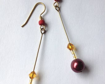 Maroon and gold pearl dangle earrings