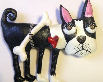 Boston Terrier Soft Sculpture for the Wall