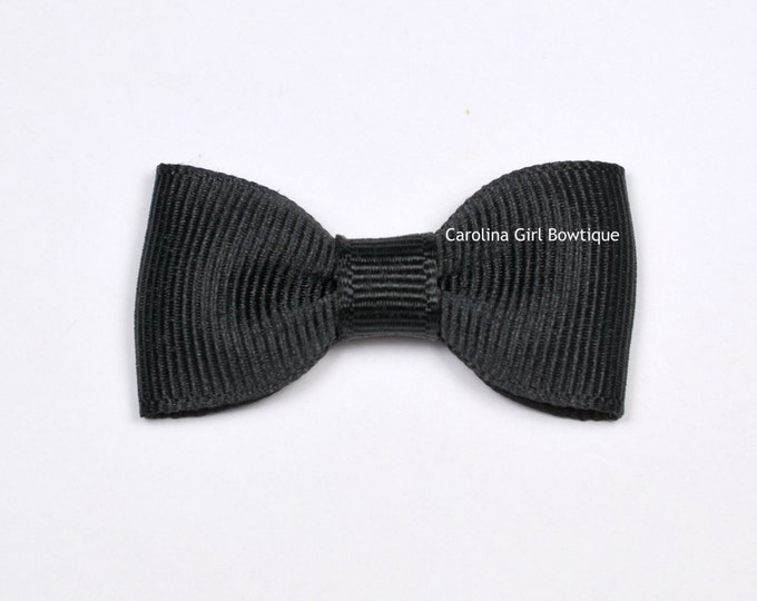 Black Baby Hair Bow ~ 2 in. Bow with No Slip Grip ~ Small Hair Bows Newborns Toddler Girls