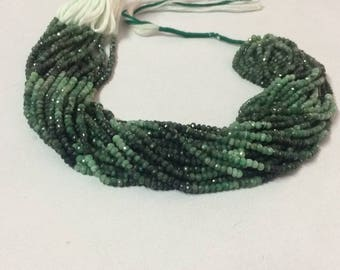 Emerald Shaded Faceted Rondelle Beads Strand   Rondelle Beads   Beads Strand   Emerald Beads   Precious Beads   Faceted Beads   Bead Strand