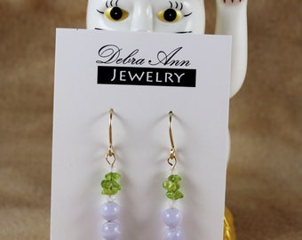 Blue Lace, Moonstone and Peridot Gemstone Dangle Earring