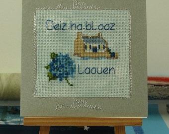 Embroidered blue hydrangea breton handmade birthday card