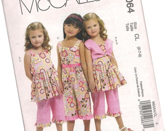 MCCALLS PATTERN M6064 little girls summer outfits, capri pants and blouses, sizes 6, 7, and 8, new and uncut