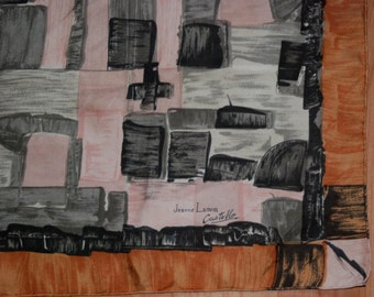 """JEANNE LANVIN by Castillo vintage 50's abstract print scarf 30"""""""