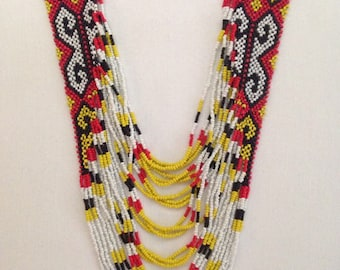 Statement Tribal necklace Philippine necklace Woven bead necklace