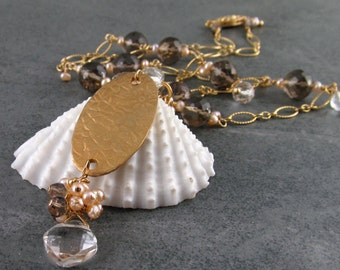 smokey quartz necklace, handmade bronze pendant, with crystal clear quartz and peach pearls-OOAK gold filled jewelry