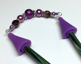 Purple Glitter Point Protector for Knitting Needles, Beaded Stitch Holder, Gift for Knitters