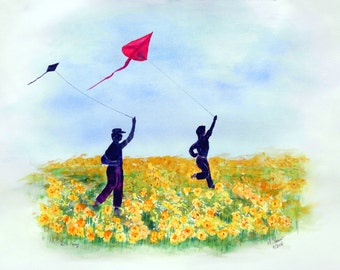 Kite Flying, Original Watercolor Painting 18 x 24  , handmade, landscape, fall gift, father & son
