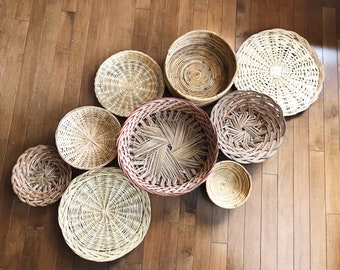 9 Hanging Woven Wall Baskets / Vintage Rattan Baskets / Wicker Baskets / Jungalow Decor / Bohemian Decor / Boho Wall Art / Tribal Eclectic