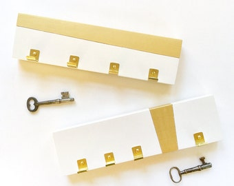 KEY RACK MODERN: Brass Gold Simple Key Holder Hooks Minimal Mod Home Entry Organization