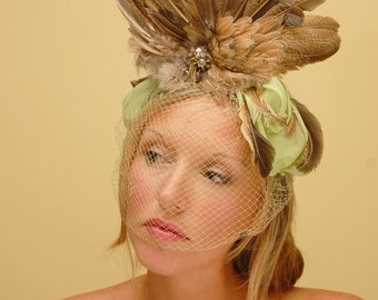 Green Bow Winged Fascinator