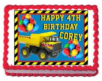 "Construction Dump Truck Edible Image Cake Topper 7.5""x 10"" Kids Cake Baking Supplies"