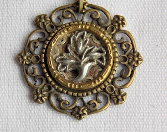 Antique Victorian Picture Button Necklace with Silver Leaves